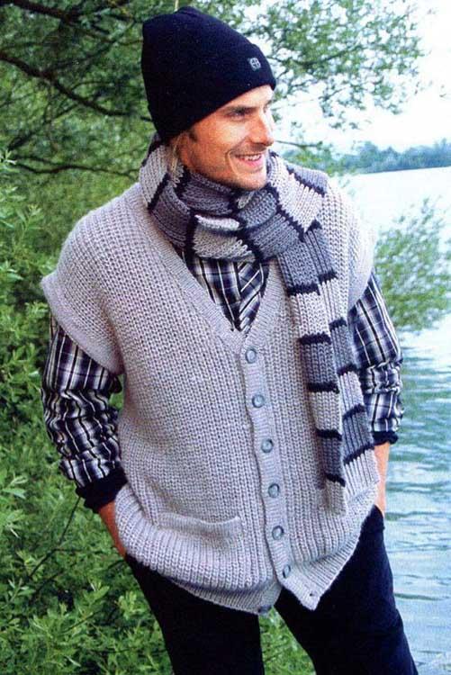 Жилет и шарф для мужчины