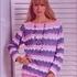 Полосатый пуловер крючком для женщины